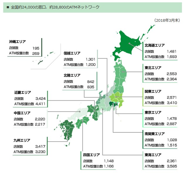 ゆうちょ銀行のネットワーク