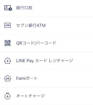 LINE Payチャージ方法6種