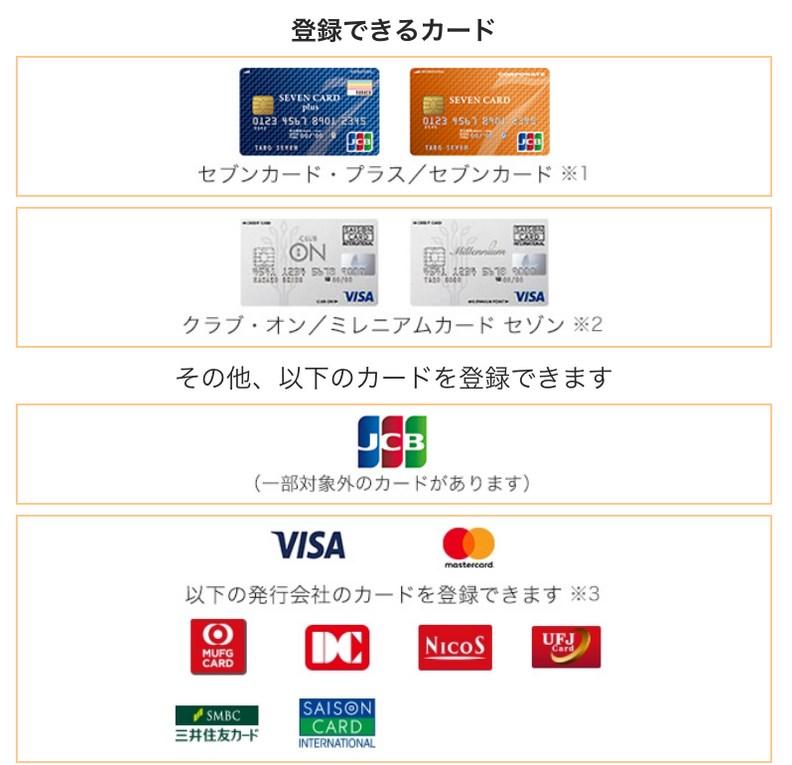 7Payに登録できるクレジットカード