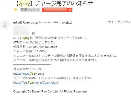 7Payのチャージしましたよメール