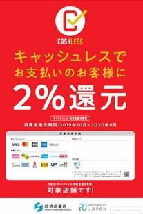 キャッシュレス・ポイント還元事業の店頭広報ポスター
