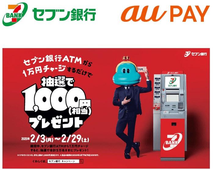 セブン銀行ATMから「au WALLET 残高」チャージで合計50,000名に1,000円相当をプレゼントするキャンペーン開催