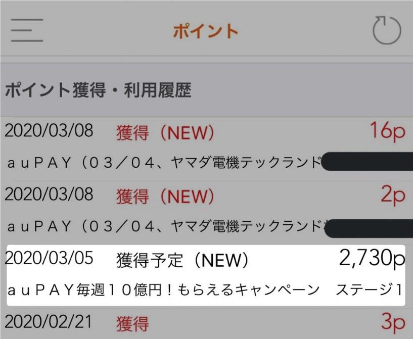 auPAYポイント獲得・利用履歴